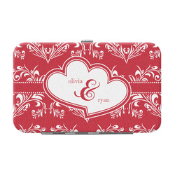 Heart Damask Genuine Leather Small Framed Wallet (Personalized)
