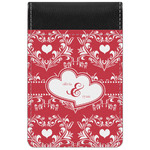 Heart Damask Genuine Leather Small Memo Pad (Personalized)
