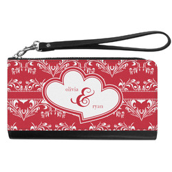 Heart Damask Genuine Leather Smartphone Wrist Wallet (Personalized)