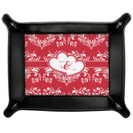 Heart Damask Genuine Leather Valet Tray (Personalized)