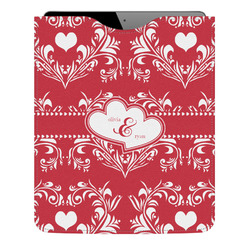 Heart Damask Genuine Leather iPad Sleeve (Personalized)