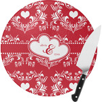 Heart Damask Round Glass Cutting Board (Personalized)