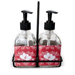 Heart Damask Soap & Lotion Dispenser Set (Glass) (Personalized)