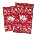 Heart Damask Golf Towel - Full Print w/ Couple's Names
