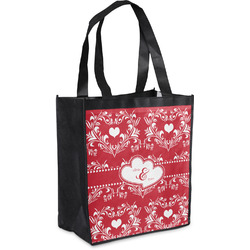 Heart Damask Grocery Bag (Personalized)