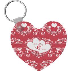 Heart Damask Heart Plastic Keychain w/ Couple's Names