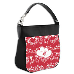 Heart Damask Hobo Purse w/ Genuine Leather Trim (Personalized)