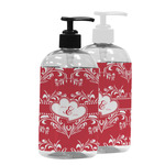 Heart Damask Plastic Soap / Lotion Dispenser (Personalized)