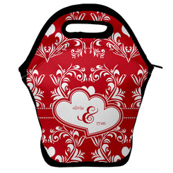 Heart Damask Lunch Bag w/ Couple's Names