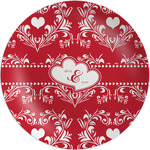 Heart Damask Melamine Plate (Personalized)