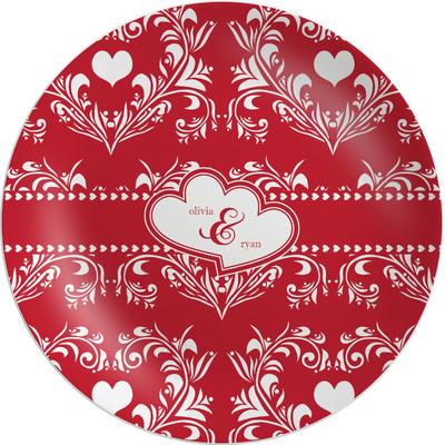 Heart Damask Melamine Plate (Personalized)