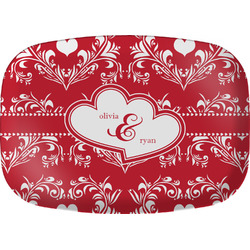 Heart Damask Melamine Platter (Personalized)