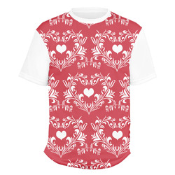 Heart Damask Men's Crew T-Shirt (Personalized)