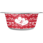 Heart Damask Stainless Steel Dog Bowl (Personalized)