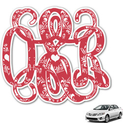 Heart Damask Monogram Car Decal (Personalized)