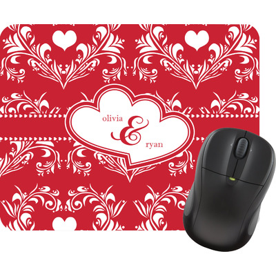 Heart Damask Rectangular Mouse Pad (Personalized)