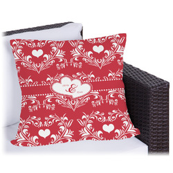 """Heart Damask Outdoor Pillow - 18"""" (Personalized)"""