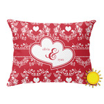 Heart Damask Outdoor Throw Pillow (Rectangular) (Personalized)