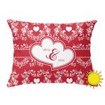 Heart Damask Outdoor Throw Pillow (Rectangular) (Personalized)