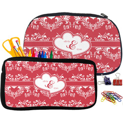 Heart Damask Neoprene Pencil Case (Personalized)