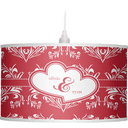 Heart Damask Drum Pendant Lamp Linen (Personalized)