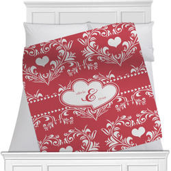Heart Damask Minky Blanket (Personalized)