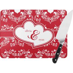 Heart Damask Rectangular Glass Cutting Board (Personalized)