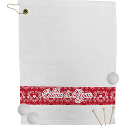 Heart Damask Golf Towel (Personalized)