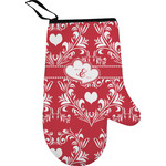 Heart Damask Right Oven Mitt (Personalized)