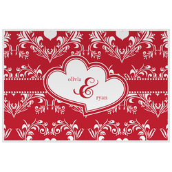 Heart Damask Laminated Placemat w/ Couple's Names