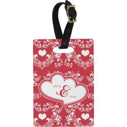 Heart Damask Rectangular Luggage Tag (Personalized)