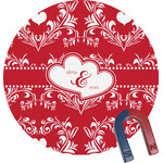 Heart Damask Round Magnet (Personalized)
