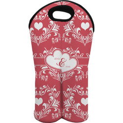 Heart Damask Wine Tote Bag (2 Bottles) (Personalized)