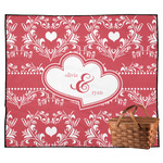 Heart Damask Outdoor Picnic Blanket (Personalized)