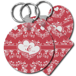 Heart Damask Plastic Keychains (Personalized)