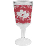 Heart Damask Wine Tumbler - 11 oz Plastic (Personalized)