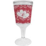 Heart Damask Wine Tumbler - 11 oz Plastic (Personalized)