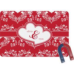 Heart Damask Rectangular Fridge Magnet (Personalized)