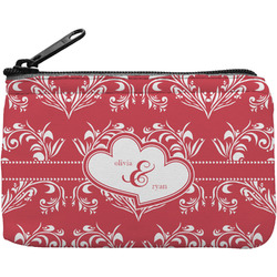 Heart Damask Rectangular Coin Purse (Personalized)