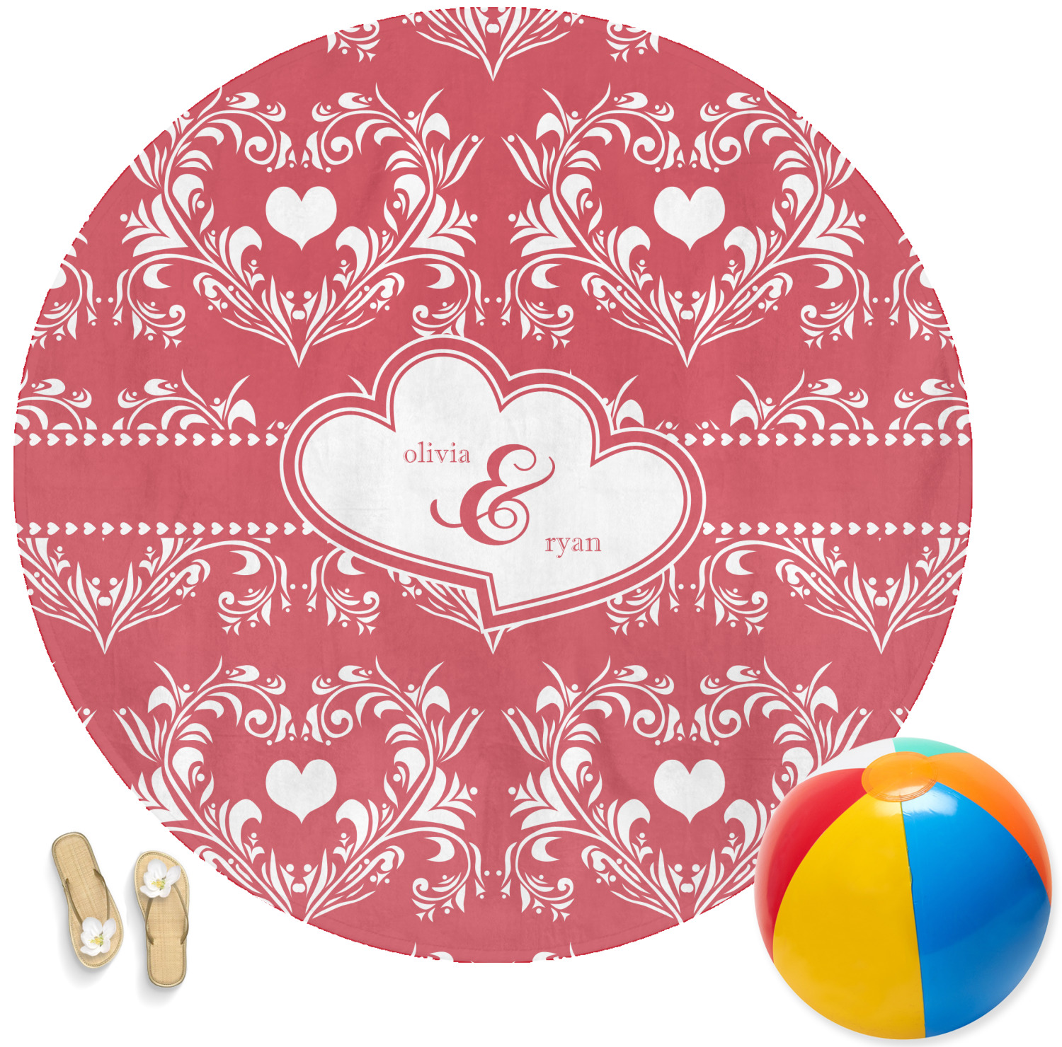 Heart Damask Round Beach Towel Personalized Youcustomizeit