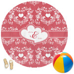 Heart Damask Round Beach Towel (Personalized)