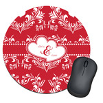 Heart Damask Round Mouse Pad (Personalized)