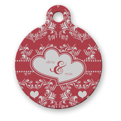 Heart Damask Round Pet ID Tag (Personalized)