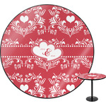 Heart Damask Round Table (Personalized)