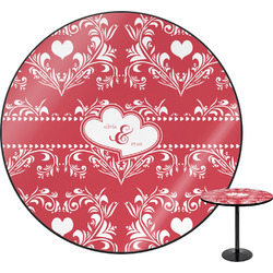 """Heart Damask Round Table - 24"""" (Personalized)"""