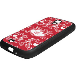Heart Damask Rubber Samsung Galaxy 4 Phone Case (Personalized)