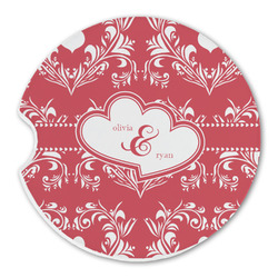 Heart Damask Sandstone Car Coasters (Personalized)