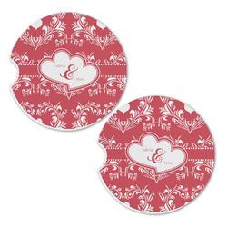 Heart Damask Sandstone Car Coasters - Set of 2 (Personalized)