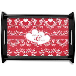 Heart Damask Black Wooden Tray (Personalized)