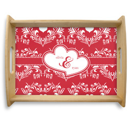 Heart Damask Natural Wooden Tray - Large (Personalized)